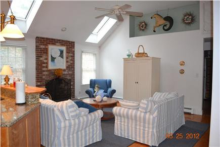 South Chatham - close to Ridge Cape Cod vacation rental - Living Room with Skylights, A/C and Ceiling Fan