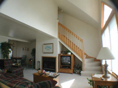 Provincetown Cape Cod vacation rental - Living area with fireplace