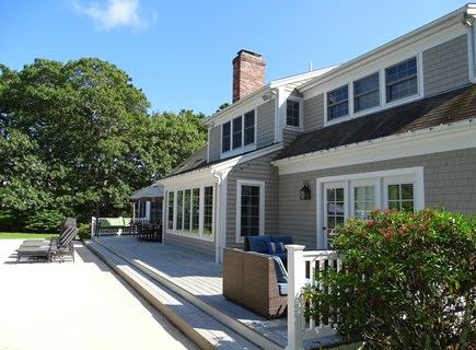 Brewster Cape Cod vacation rental - Deck offers dining table, seating w/ gas firepit table, gas grill