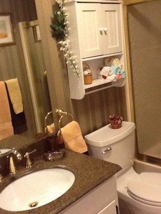 East Falmouth Cape Cod vacation rental - Bathtub and shower combo.Paper products, soap,and bath towels pro