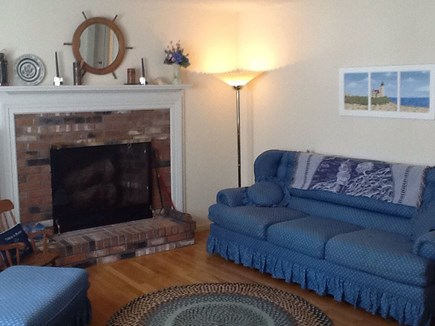 East Falmouth Cape Cod vacation rental - Living room with fireplace Comcast tv, Internet,and phone.
