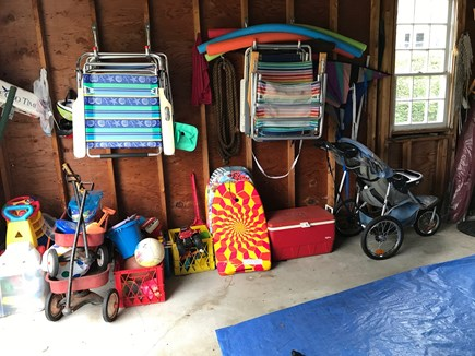 Chatham Cape Cod vacation rental - Garage with chairs, toys and extra stroller