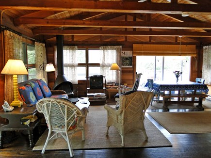 Wellfleet Cape Cod vacation rental - Lofted, open living room with TV and sliders to deck