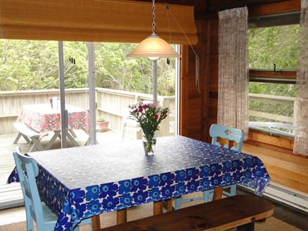 Wellfleet Cape Cod vacation rental - Dining area with sliders to large expanded deck
