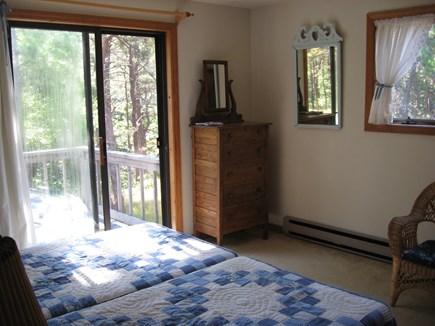 Wellfleet, Ocean side of Route 6 Cape Cod vacation rental - Upstairs bedroom w/twin beds & sliders to deck