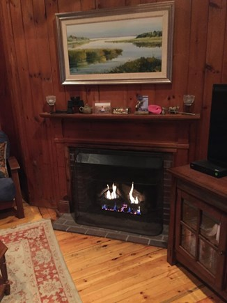 South Dennis Cape Cod vacation rental - Gas fireplace for ambience