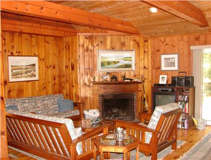 South Dennis Cape Cod vacation rental - Lofted living room with TV and gas fireplace