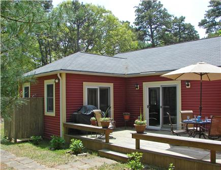 South Dennis Cape Cod vacation rental - Deck with gas grill, adjacent to outdoor shower