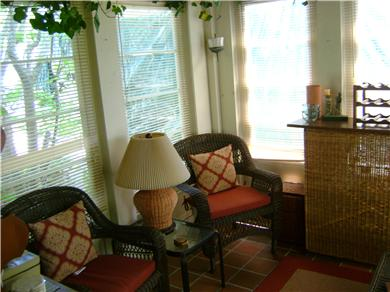 Falmouth Cape Cod vacation rental - Fabulous 3-Season Closed in Porch w/Wicker Furniture and Bar!