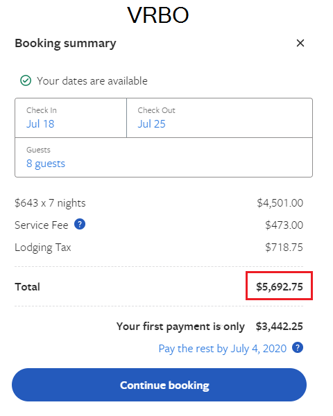 Booking comparison of fees for VRBO