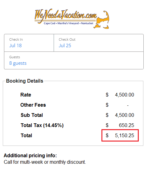 Booking comparison of fees for WeNeedaVacation