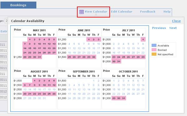 View Your Availability Calendar