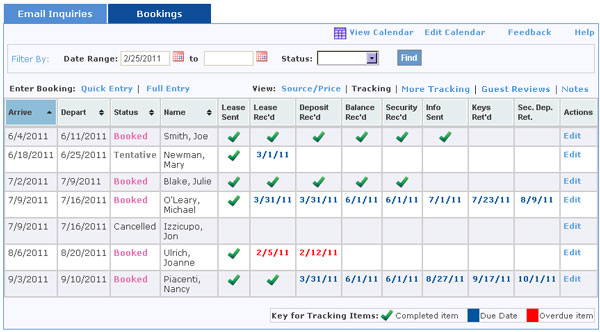View Bookings with Tracking Information