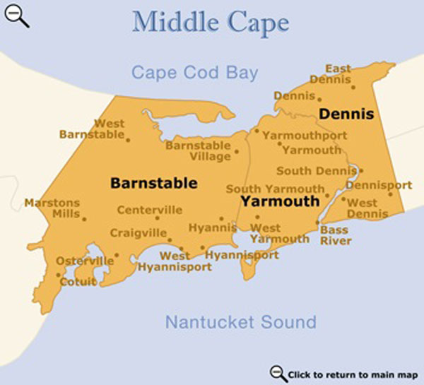 Mid Cape Cod map