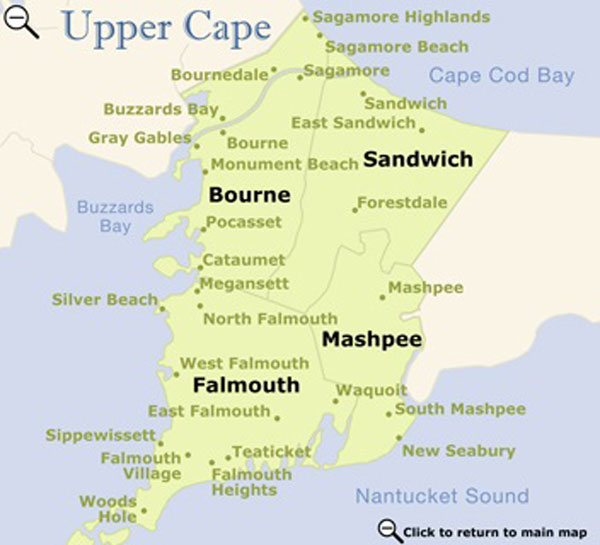 Upper Cape Cod map