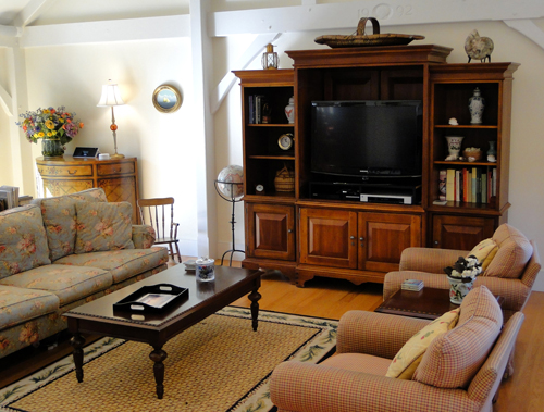 Large screen television and comfortable seating in this Nantucket vacation rental