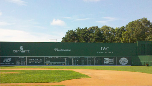 Replica of Fenway Park's Green Monster