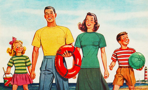 Vintage Family Going to the Beach