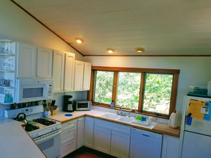 Chilmark, Quansoo Road across from Quans Martha's Vineyard vacation rental - Kitchen on the second floor with door to upper deck