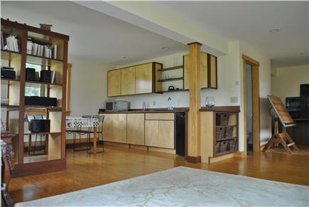 Chilmark, Quansoo Road across from Quans Martha's Vineyard vacation rental - Downstairs living room with wetbar, fridge, microwave etc