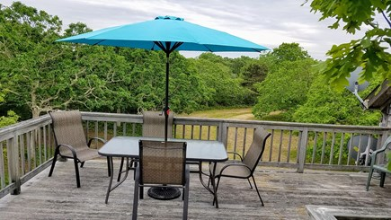 Chilmark, Quansoo Road across from Quans Martha's Vineyard vacation rental - Expansive deck in the tree tops