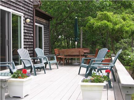 West Tisbury Martha's Vineyard vacation rental - Large sundeck. Teak table seats 8.