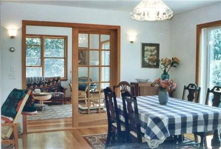 West Tisbury Martha's Vineyard vacation rental - Dining room (seats 6) with sliders to deck