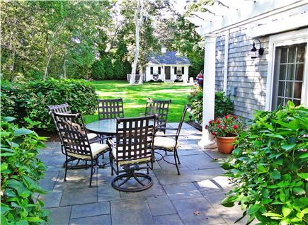 Edgartown Martha's Vineyard vacation rental - Patio off family room, view of back yard