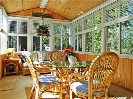 Edgartown Martha's Vineyard vacation rental - Sunny and bright sun porch w/ sitting areas and TV, door to deck