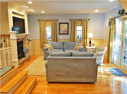 "Edgartown Martha's Vineyard vacation rental - Large family room w/ 46"" flatscreen TV and French doors to patio"