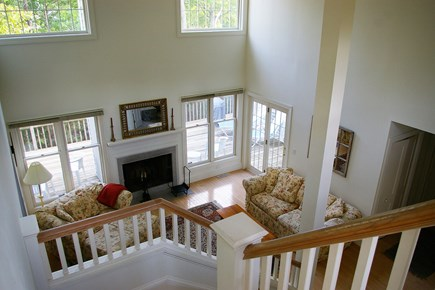 Vineyard Haven Martha's Vineyard vacation rental - Living room viewed from second floor balcony