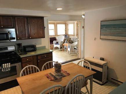 Edgartown Martha's Vineyard vacation rental - Kitchen attached to large sunroom with pickle pine ceiling.
