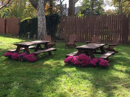 Oak Bluffs (East Chop) Martha's Vineyard vacation rental - Two family friendly picnic tables, next to a large Weber grill.