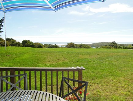Chilmark Martha's Vineyard vacation rental - Panoramic water views from deck and large back yard