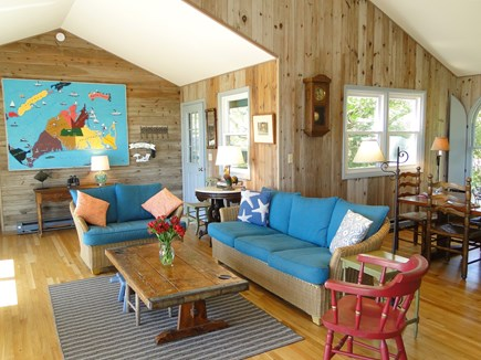 Chilmark Martha's Vineyard vacation rental - Bright, vaulted living area with hardwood floors