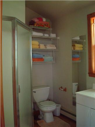 Vineyard Haven Martha's Vineyard vacation rental - Bathroom with triangular-shaped shower; bath and beach towels