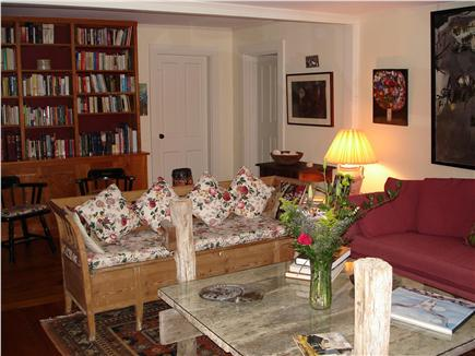 Chappaquiddick, Edgartown Martha's Vineyard vacation rental - Living room library-browse through books, games and puzzles