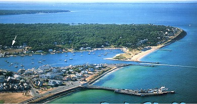 Oak Bluffs Martha's Vineyard vacation rental - Aerial view of cottage and proximity to beach, harbor and town