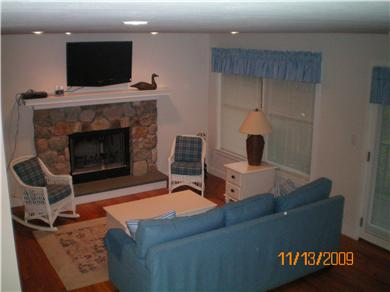 Edgartown Martha's Vineyard vacation rental - Comfortable Living Room with Flat Screen TV & Fireplace