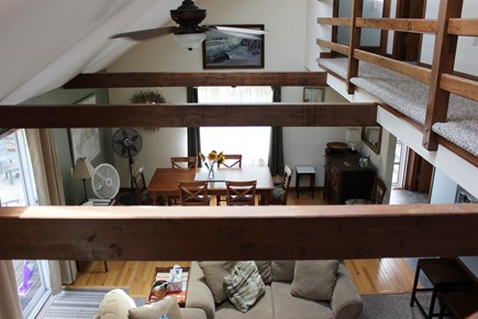 Edgartown Martha's Vineyard vacation rental - View From the Stairs Into the Living Room and Dining Area