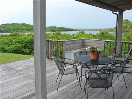 Chilmark Martha's Vineyard vacation rental - Magnificent view of pond and ocean from deck and living room