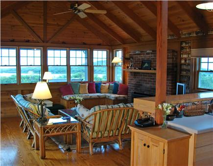 Chilmark, off South Rd. adjace Martha's Vineyard vacation rental - Living room offers fireplace, cable TV & high speed internet