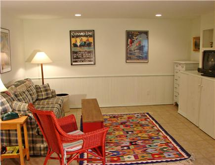 Chilmark, off South Rd. adjace Martha's Vineyard vacation rental - Downstairs rec room with TV,  DVD & sofa bed – perfect for kids!