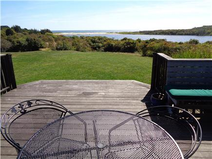 Chilmark Martha's Vineyard vacation rental - View from deck looking south over pond to nearby Lucy Vincent B.