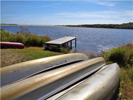 Chilmark Martha's Vineyard vacation rental - Looking over our canoes, dock & pond leading to Lucy Vincent B.