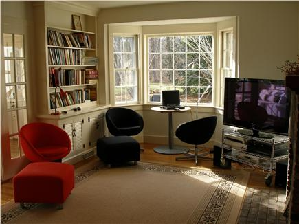 West Tisbury Martha's Vineyard vacation rental - Corner of living room with large-screen HD-TV.