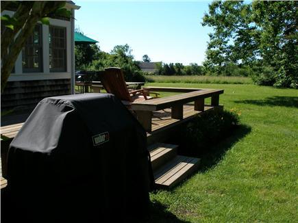 West Tisbury Martha's Vineyard vacation rental - Side deck toward the meadow overlook.