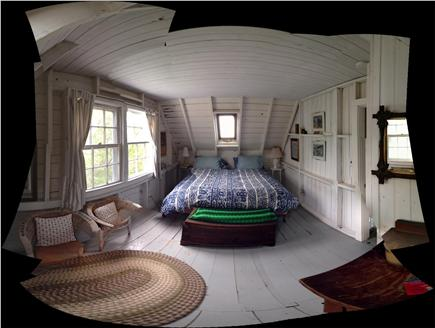 Chilmark, Menemsha Martha's Vineyard vacation rental - Fisheye of upstairs king bedroom.
