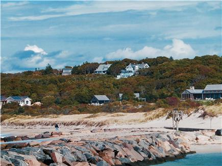 Chilmark, Menemsha Martha's Vineyard vacation rental - The house&beach, as seen in Oct.from Aquinnah side of the jetty.