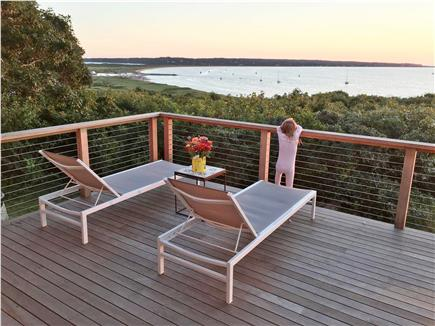 Chilmark, Menemsha Martha's Vineyard vacation rental - The deck at twilight, overlooking Menemsha Harbor & Aquinnah.